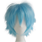 Alacos Popular Synthetic Short Unisex Spiky Cosplay Anime Wig with Bangs Plus Free Cap, Aqua Blue