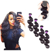Passion Beauty 4 Bundles 7a Grade Peruvian Virgin Hair Body Wave 100% Unprocessed Virgin Human Hair Weave Extensions Nature Colour 95-100g/pc