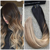 Ugeat 60cm 10Pcs 140Gram 100 Real Human Hair Clip in Extensions Balayage Ombre Hair Extensions Colour Black #1B Fading to Medium Brown #6 Mixed with #16 Blonde Full Head Thick Brazilian Hair