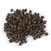Dark Brown 250 pcs 3mm Micro Rings Beads Locks For I Tip Stick Feather Human Hair Extensions