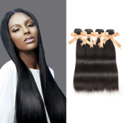 Sparkle Diva 8a Peruvian Virgin Straight Weave 4pcs Mixed Sizes Hair Bundles Set, 100% Unprocessed Real Human Hair Extensions Natural Colour