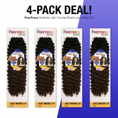 MULTI-PACK DEALS! FreeTress Synthetic Hair Crochet Braids Jazz Water 30cm (4-PACK, 4)