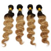 Ombre Loose Wave Brazilian Human Hair Weave Two Tone Colour T1B/27 30cm - 70cm 4 Pcs/Lot Hair Extensions