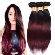 8A Grade Unprocessed Straight Wave Virgin Brazilian Human Hair Weave 3 Bundles Ombre Colour 1b/99j