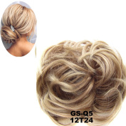 Netgo Updo Hairpiece Hair Ponytail Extensions Hair Extensions Scrunchy Bun Wavy Curly Messy Hair Bun Extensions Donut Hair Chignons Hair Piece Wig-12T24 Light Golden Brown & Pale Golden Blonde Ombre