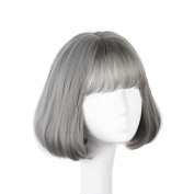 Short Mixed Colour Synthetic Women Hairpieces 28cm -Grey