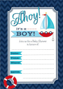 Ahoy it's a Boy - 24 Baby Shower Invitations and 24 Envelopes