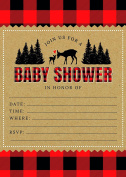 24 Woodland Rustic Lumberjack Flannel Deer Baby Shower Invites and 24 White Envelopes