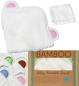 Ayayu Bamboo Baby Hooded Towel | Extra Soft and Organic | for Newborn, Infant, Toddler and Kids for Baby Bath, Beach and Pool | Great Baby Shower Gift | White with Pink Bear Ears