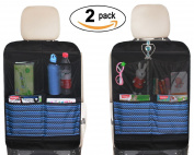Kick Mat Seat Back Protectors with 4 Large Organiser Pockets Seat Covers For Car BackSeat, 2 Pack