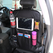 CHGJHH Car Back Seat Organiser with Tablet Holder - Touch Screen Pocket for Android & iOS Tablets up to 26cm - Multipurpose Use as Auto Seat Back Protector, Kick Mat, Car Organiser