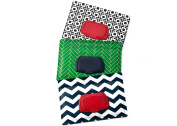 Be Bundles Wet Wipes Pouch VERSION 2 - NEW replacement snap-on lid included, 3-Pack, Green Herringbone/Navy Chevron/Black Geometric