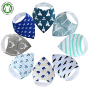 KONVINIT Baby Bandana Drool Bibs, Unisex 8-Pack Drool Bib Set for Drooling and Teething, Organic Cotton, Super Soft and Absorbent Gift for Boys & Girls