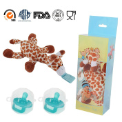 2-Pack Safe Infant Pacifiers, STAR-FLY No Toxicity Removable Pacifiers Holder with Stuffed Animal Toy Baby Orthodontic Nipples for Boy and Girl