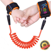 Toddler Safety Harness   Anti Lost Child Safety Wrist Link   Extra Safe Double Hook and loop Wrist Straps   Baby Soft Skin Friendly Hypoallergenic 100% Cotton   Orange