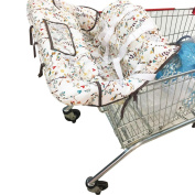 Kakiblin Summer 2-in-1 Infant Cotton Shopping Cart Cover and Seat Positioner,Universal Size,Flower Design
