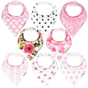 KiddyStar Bandana Bibs for Girls, 8-Pack Drool Bib Set, Organic, Adjustable, Soft, Absorbent, . and Chic Prints, Newborn and Baby Shower Gift for Drooling and Teething