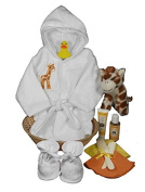 Sunshine Gift Baskets - Baby Bath Robe and Slippers (White) with Burt's Bees Shampoo and Lotion