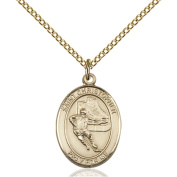 Gold Filled St. Christopher/Hockey Pendant 1.9cm x 1.3cm with Gold-Filled Lite Curb Chain