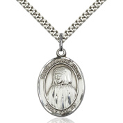 Sterling Silver Blessed Jeannie Jugan Pendant 2.5cm x 1.9cm with Heavy Curb Chain