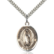 Sterling Silver Virgen de Guadalupe Pendant 2.5cm x 1.9cm with Heavy Curb Chain