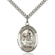 Sterling Silver St. Catherine of Siena Pendant 2.5cm x 1.9cm with Heavy Curb Chain