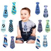 Zaker 24 Pcs Baby Monthly Necktie Onesie Stickers - Monthly Milestone Belly Necktie Stickers -12 Months +12 Bonus Milestones