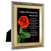 50th Anniversary Frame for Parents - Happy 50th Anniversary Mom and Dad Card in Frame