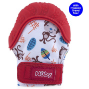 Nuby Happy Hands Soothing Teething Mitten with Hygienic Travel Bag, Red