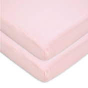 American Baby Company 100% Cotton Value Jersey Knit Fitted 2 Piece Portable/Mini Crib Sheet, Pink