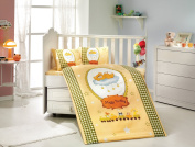 BamBam - Baby Deluxe Duvet Cover Set - 100% Cotton - 4 pieces (Yellow) - Made in Turkey