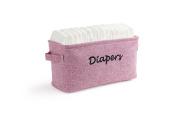 Dejaroo Baby Nappy Storage Bin - Nursery Organiser Caddy - Embroidered Eco-friendly Pink Linen