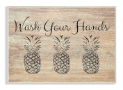 The Stupell Home Décor Collection Wash Your Hands Pineapple Wall Plaque Art