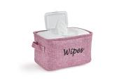 Dejaroo Baby Wipe Storage Bin - Nursery Organiser Caddy - Embroidered Eco-friendly Linen