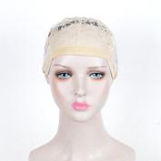SiYi Pack of 5pcs DIY Wig Weaving Cap Adjustable Straps Cap For Wig Making Brown