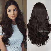 QD-Tizer Long Wavy Synthetic Hair Lace Front Wigs Brown Hair Glueless Lace Wig for Fashion Women 60cm