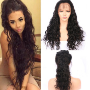 Evlynn Hair Curly Wave Lace Front Human Hair Wigs Glueless 150% Density Brazilian Virgin Wigs with Baby Hair for Black Women Natural Black 60cm