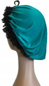 Silk Jersey Sleep Cap - Teal with black lace