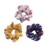 Elegant Wrinkle Design Flower Scrunchies Women's Hair Scrunchies Hair Bow Ponytail Holder WR001
