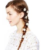 6PCS Daisy Flower Hair Clip Barrettes Hairpin Hair Rope Hair Band Poytail Holder Hair Accessories