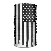 DahelinG Unisex Stylish USA American Flag Black White Quick Dry Microfiber Headwear Outdoor Magic Bandana As Neck Gaiter Head Wrap Headband Scarf Face Mask Ultra Soft Elastic One Size