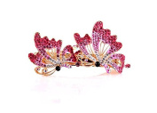 WEIYI Double Flying Butterfly Shaped Rhinestone Hair Barrette Clip for Lady