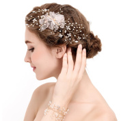 YAZILIND Beauty Women's Bridal Wedding Hair Clip Barrette Party Rhinestones Lace Flower Alloy Hair Accessories