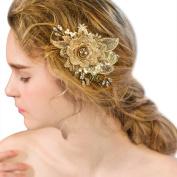 YAZILIND Beauty Women's Bridal Wedding Hair Clip Barrette Party Rhinestones Lace Flower Alloy Hair Accessories