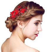 YAZILIND Beauty Women's Bridal Wedding Hair Clip Barrette Party Red Bead Flowers Alloy Hair Accessories