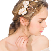 YAZILIND Beauty Women's Bridal Wedding Hair Clip Barrette Party Bead Flowers Alloy Hair Accessories
