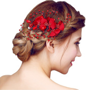 YAZILIND Beauty Bridal Wedding Hair Clip Barrette Party Red Rhinestones Flower Alloy Women Hair Accessories