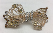 Gorgeous Vintage Jewellery Crystal Rhinestones Bow Design Hair Barrette Clips Hair Clips- Large Size - Crystal Amber Colour -For Hair Beauty Tools