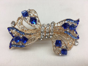 Gorgeous Vintage Jewellery Crystal Rhinestones Bow Design Hair Barrette Clips Hair Clips- Large Size - Crystal Sapphire Blue Colour -For Hair Beauty Tools