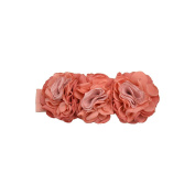 Peach Mix Tri-Colour Crepe Flower Baby Headband